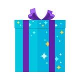 Actual Giftbox para los festivales en colores azules con las estrellas Imagen de archivo libre de regalías