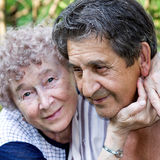 Actual gladness of elderly people Stock Image