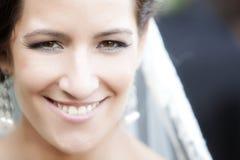 Actual happy bride portrait. Very happy actual bride looking at camera Stock Photography