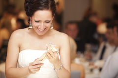 Actual happy bride portrait. Stock Photo