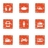 Actual icons set, grunge style. Actual icons set. Grunge set of 9 actual vector icons for web isolated on white background Royalty Free Stock Image