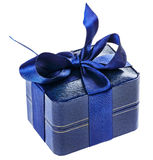 Actual rectángulo del azul con la cinta de seda Imágenes de archivo libres de regalías
