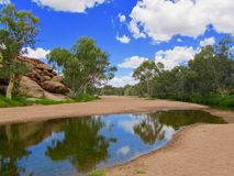 Alice Springs in the middle of Australia. The actual spring in Alice Springs. The name comes from the telegraphist who thought the stream was a sting and was stock photo