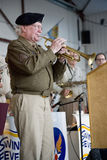 Actual trumpeter from World War II. Who played Taps during liberation of Nazi Auschwitz concentration camp in Germany - performed at Mid-Atlantic Air Museum Stock Photos