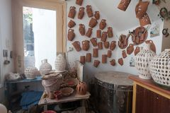 Pottery atelier view. Actual view of a corner in a pottery atelier. Image taken in a Greek island Stock Photos