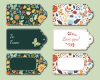 Actuales etiquetas florales Imagenes de archivo