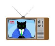 Actualités animales vieille TV Radiodiffusion vivante d'animal familier Jour de radiodiffusion de chat illustration de vecteur
