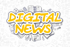 Actualités de Digital - texte jaune de bande dessinée Concept d'affaires Photo libre de droits
