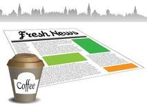 Actualités fraîches et café Photo libre de droits