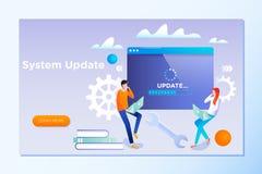 Actualización del sistema El sistema de la operación de actualización de la gente puede utilizar para, página de aterrizaje, plan stock de ilustración