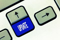 ACTUALIZACIÓN del texto de la escritura de la palabra El concepto del negocio para actualizado hace algo una versión más reciente fotografía de archivo