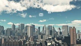 actualización 4k el informativo a la nube, datos a urbano moderno, iconos de la transferencia directa de Internet almacen de metraje de vídeo