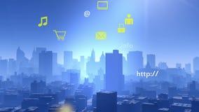 actualización 4k el informativo a la nube, datos a urbano moderno, iconos de la transferencia directa de Internet stock de ilustración