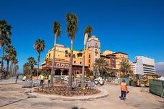 Actualizando el pavimento en Las Américas el 23 de febrero de 2016 en Adeje, Tenerife, España Imagenes de archivo