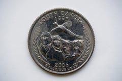 Acuñe 25 centavos - ` Dakota del Sur de Washington Quarter del ` Imágenes de archivo libres de regalías