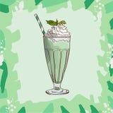 Acuñe y la receta blanca del batido de leche del chocolate Elemento del menú para el café o restaurante con la bebida fresca de l ilustración del vector