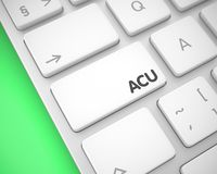 ACU - Inscription on White Keyboard Keypad. 3D. Business Concept: ACU - Average Concurrent Users on Modern Keyboard lying on the Green Background. Conceptual vector illustration