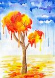 Acuarela abstraction-1 del otoño Imagen de archivo