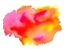 Acuarela amarilla rosada abstracta en el fondo blanco El color que salpica en el papel Es una mano dibujada Foto de archivo libre de regalías