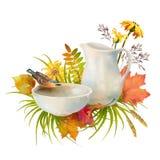 Acuarela Autumn Composition imagenes de archivo