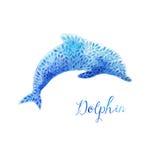 Acuarela azul de salto del delfín pintada stock de ilustración
