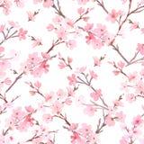 Acuarela con el árbol de la primavera en modelo del flor libre illustration