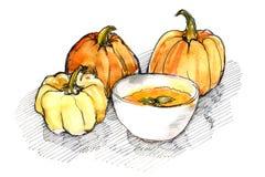 Acuarela de calabazas y de la sopa de la calabaza Foto de archivo libre de regalías
