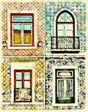 Acuarela de Digitaces de ventanas en Portugal con las tejas Imagen de archivo