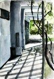 Acuarela de la calzada externa con la sombra en el piso Fotos de archivo libres de regalías