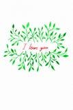 Acuarela de la flor Tarjeta con las hojas del color de agua Por la tarjeta del día de San Valentín del St imagen de archivo