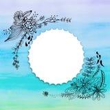 Acuarela de la flor y del arco iris del dibujo Fotografía de archivo libre de regalías