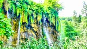 Acuarela de la imagen de la cascada de la montaña Imágenes de archivo libres de regalías