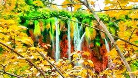 Acuarela de la imagen de la cascada de la montaña Imagen de archivo libre de regalías
