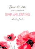 Acuarela de la invitación de la boda con las flores Fotos de archivo