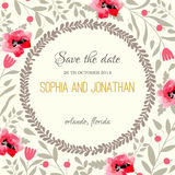 Acuarela de la invitación de la boda con las flores Imágenes de archivo libres de regalías