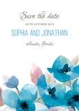 Acuarela de la invitación de la boda con las flores Fotos de archivo libres de regalías
