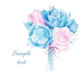 Acuarela de la invitación de la boda con las flores Imagen de archivo libre de regalías