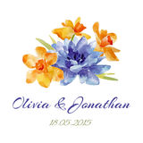 Acuarela de la invitación de la boda con las flores Fotografía de archivo