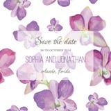 Acuarela de la invitación de la boda con las flores de la orquídea Imagenes de archivo