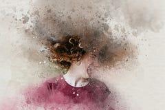 Acuarela de la muchacha adolescente hermosa que sacude la cabeza con el pelo rizado Fotos de archivo