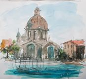 Acuarela de la opinión de Venezia Fotos de archivo