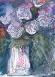 Acuarela de las rosas blancas y pintura abstractas de la tinta Imagen de archivo
