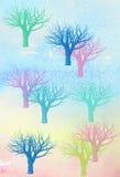 Acuarela de los árboles del invierno ilustración del vector