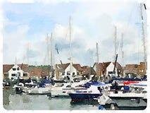 Acuarela de los barcos de vela en un puerto deportivo stock de ilustración