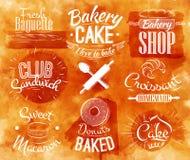 Acuarela de los caracteres de la panadería Fotos de archivo