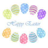 Acuarela de los huevos de Pascua en fondo Imagen de archivo