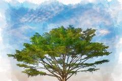 Acuarela de un árbol con el cielo azul Fotos de archivo