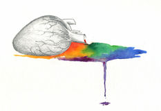 Acuarela del arco iris de la sangría del corazón Fotos de archivo libres de regalías