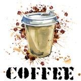 Acuarela del café Taza de café y granos de café en el fondo blanco Imagenes de archivo