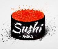 Acuarela del cartel del menú del sushi Imágenes de archivo libres de regalías